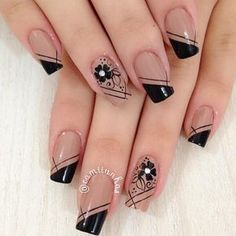 More than 120 photos and inspirations for you to do in nail art designs with stones, jewels, flowers, glitter, simple and in various colors. Check out! Dark Nail Designs, Nail Polish Designs, Acrylic Nail Designs, Nail Art Designs, Classy Nails, Stylish Nails, Simple Nails, Nail Manicure, Gel Nails