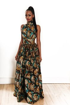 African Print Multicolor Dress Maxi Dress by Jezafricanna on Etsy African Inspired Fashion, African Print Fashion, Africa Fashion, Fashion Prints, Ankara Fashion, Tribal Fashion, African Attire, African Wear, African Women