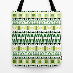 Geometric Citrus Tote Bag - $18.00  #tote #bag #shopping #geometric #tribal #pattern #lemon #lime #yellow #green