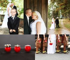 Fire fighter wedding.. I LOVE this picture on the bottom right!
