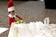 Elf on the Shelf Ideas - Snowflake art