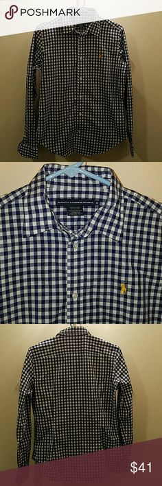Polo gingham button down Royal blue and white gingham blouse from Ralph Lauren. Pearl buttons and in great condition. Runs a little big.  Yellow pony shown Polo by Ralph Lauren Tops