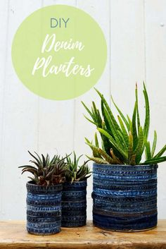 These recycled jeans tin can planters are so easy to make. No sewing involved just glue and upcycled denim hems and seams (step by step tutorial). They look great when planted with succulents and would make a lovely gift.