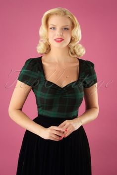 Mimi Slyther Check Top in Black and Green Tops Vintage, Librarian Chic, Black Pipe, Classy Chic, Pencil Dress, Black Fabric, Swing Dress, Fitness Fashion, What To Wear