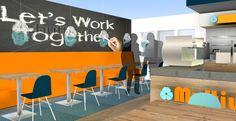 MultiWork#kantoor#oranje#blauw#werkplekken#zitplekken#kantine#bank