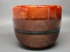 Handmade Turned Wooden Bowl made from Black Walnut Wood with a Dazzling Burnt Orange Pearl Resin Lip & Silver Pearl Resin Inlay- Collectible