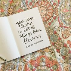 You can learn a lot of things from flowers - Alice in Wonderland. Hand lettering by Samantha Ranlet.