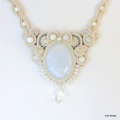 Cream and White Soutache Necklace with by ZinaDesignJewelry, $120.00