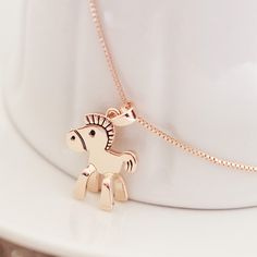 Find More   Information about pony necklace,Zodiac necklace ,18k rose gold trojan short design necklace, chain female necklace,High Quality  ,China   Suppliers, Cheap   from vivien on Aliexpress.com