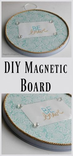 DIY Magnetic Board - learn how to make your own magnet board or magnetic photo frame out of a round stove burner cover! Diy Home Decor Projects, Easy Diy Projects, Craft Projects, Handmade Decorations, Handmade Crafts, Stove Burner Covers, Stove Top Burners, Magnetic Photo Frames, Tree Crafts