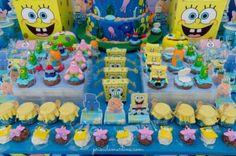 detalhes de decoração de festa infantil tema bob esponja
