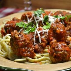 """""""Ricotta-spiked meatballs are so tender, so flavorful, and so delicious. There are hardly any ingredients. Of course we're going to throw this over some spaghetti, because we're Americans and that's what we do with meatballs. Meatball Sauce, Meatball Recipes, Meat Recipes, Cooking Recipes, Dinner Recipes, Cooking Rice, Meat Sauce, Dinner Menu, Dinner Ideas"""