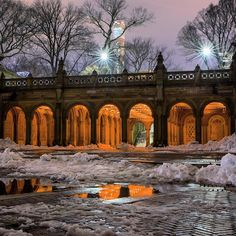 The Central Park snow melt. Not sure how much longer it'll last  #centralpark by matthewchimeraphotography