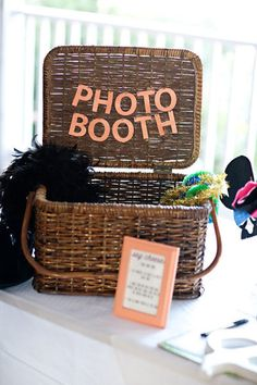 Cute Idea for photobooth props- or maybe suitcase? Accessoires Photobooth, Party Planning, Wedding Planning, Cute Wedding Ideas, Wedding Inspiration, Craft Wedding, Perfect Wedding, Destination Wedding Decor, Prop Box