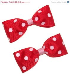Pink and Red Polka Dot Tuxedo Bow Set by PynkKrush on Etsy, $5.10