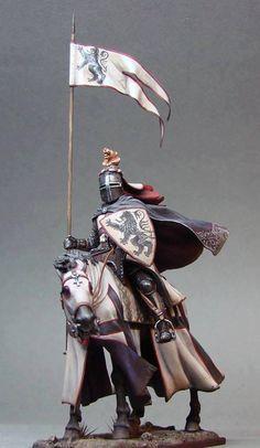Knight on horse Armadura Medieval, Crusader Knight, Knight Armor, Medieval Knight, Medieval Armor, Classical Antiquity, Landsknecht, Military Figures, Miniature Figurines