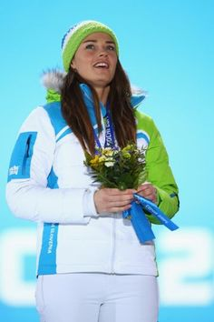 Gold medalist Tina Maze of Slovenia celebrates during the medal ceremony for the Alpine Skiing Women Tina Maze, Gold Medal Winners, Olympic Gold Medals, Star Wars, Alpine Skiing, Slovenia, Olympics, Champion, Sporty