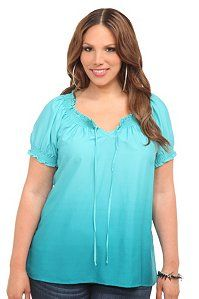 Teal Ombre Peasant Top | Tops