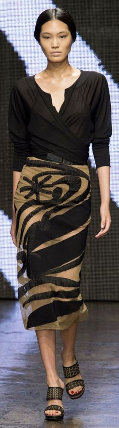 """And another """"not a pattern"""". I DO however have a skirt pattern that would be beautiful in a sheer type fabric and lined. From Donna Karan Spring 2015 ~ NYFW"""