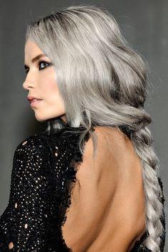 Grey hair braid