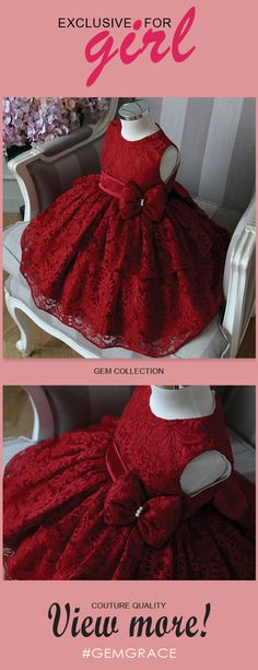 5899 Flower Girl Dresses Highend Burgundy Lace Princess Flower Girl Dress Girls Pageant Gown at View more special Flower Girl DressesCheap Flower Girl Dresses now GemGrac.