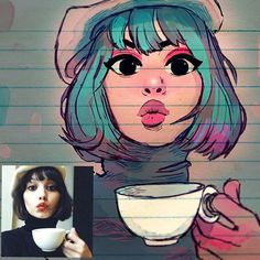 ✨Coffee Time!☕️️✨ - Experimenting color and contrast. Also this expression was tough too capture to say the least .Anyway that's what practice is for right? Thanks for looking  ☕️ #art drawing #sketch #portrait