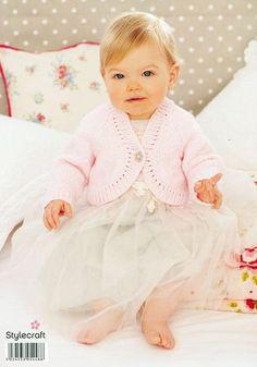 Girls Boleros in Stylecraft Wondersoft DK – Deramores Baby Knitting Patterns, Free Knitting, Knitted Baby Clothes, Girls Sweaters, Knit Crochet, Flower Girl Dresses, Wedding Dresses, Fit, Google