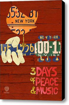 Woodstock Music Festival Poster License Plate Art Stretched Canvas Print / Canvas Art By Design Turnpike Mind Reading Tricks, Woodstock Music, License Plate Art, Plate Crafts, Festival Posters, Art Design, Canvas Art Prints, Diy Art, Vintage Posters