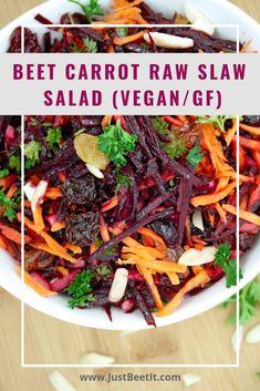 Beet and Carrot Raw Slaw Salad (Vegan/Gluten-Free) Vegan Coleslaw vegan beet slaw Raw Vegan Dinners, Raw Vegan Recipes, Vegan Foods, Vegan Dishes, Vegetarian Recipes, Healthy Recipes, Vegan Raw, Beet Salad Recipes, Slaw Recipes
