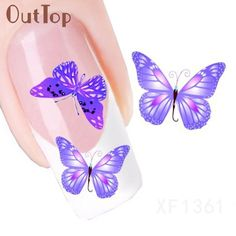 [Visit to Buy] New Fashion Design Butterfly Pattern Nail Art Foil Stickers Transfer Decal Tips Manicure Nial Decoration U0313 #Advertisement