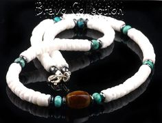 7SH-014 Aussie Made Turquoise, Shell Tigers Eye & Hematite Surf Choker Necklace.