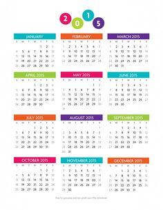 Free printable year at a glance 2015 Calendar