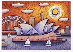 Opera House Birthday Boat by Reg Mombassa Sydney, National Art School, Australia Landscape, Art Corner, Naive Art, Art For Art Sake, Australian Artists, Landscape Art, Painting Inspiration