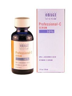 Obagi System Professional-C  10% Vitamin C Serum, 1-Ounce Bottle (30ml) by Obagi Medical. $37.99. Designed to stimulate collage to firm and support skin. Made in USA. Suitable for dry, sensitive or reactive skin types. Superior delivery system, resulting in greater penetration to all layers of the skin. Lighten skin discolorations, moisturize and hydrate skin to improve both texture and tone. Obagi Professional-CSerum provides antioxidant protection with deep penetration to th...