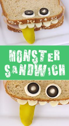 Totally cute and easy to make Monster sandwich for kids! Nom .. or grrr. #SqueezeSweeps AD