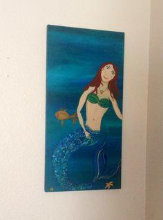 "Mermaid Art- 12""×24"" acrylic original painting - Mermaid decor - Mermaid Painting  https://www.etsy.com/listing/189707208/magnificent-mermaid-12x24-abstract"