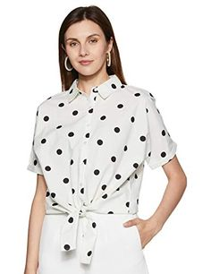 Amazon-Brand-Inkast-Denim-Co-Womens-Polka-Dot-Loose-Fit-Half-Sleeve-Shirt Half Sleeve Shirts, Half Sleeves, Shirt Sleeves, Buy Skirts Online, Indian Tunic Tops, Western Wear For Women, Weird Fashion, Denim Top, Denim Fashion