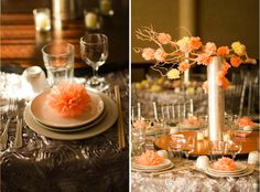 Branches! Love!   This color scheme is apricot and pink...very pretty. I am jiving for more vibrant deeply fall colors - burgundy, purple, white