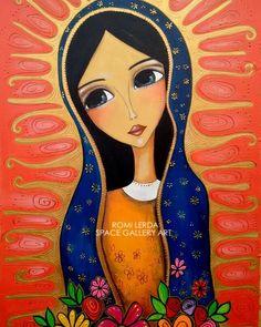 Virgine of Guadeloup Catholic Art, Religious Art, Images Google, Karla Gerard, Mexican Folk Art, Mother Mary, Christian Art, Whimsical Art, Art Plastique