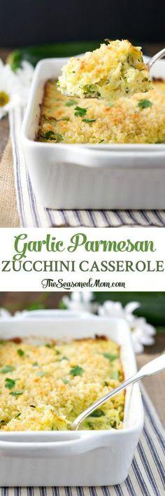 Garlic Parmesan Zucchini Casserole is an easy side dish! Zucchini Recipes | Sides | Side Dishes | Zucchini Recipes Baked | Side Dish Recipes