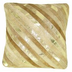 Striped leather pillow.  Product: PillowConstruction Material: LeatherColor: Beige and goldFeatures: Insert includedCleaning and Care: Dry clean only