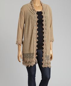 Loving this Taupe Swiss Dot Open Cardigan - Plus on #zulily! #zulilyfinds