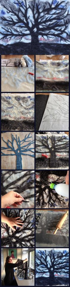 Felt needle felt wet felt with felt wool - tree art Felt Fabric, Fabric Art, Diy Laine, Bordados E Cia, Do It Yourself Jewelry, Felt Pictures, Needle Felting Tutorials, Wool Art, Nuno Felting