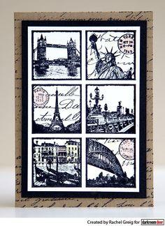 Card by Rachel Greig using Darkroom Door Travel Squares Collage Stamp