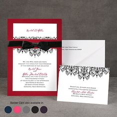 Chandelier Damask - Layered Invitation-red band is created from the same card stock as the backing. Invitation slides through it and then the ribbon is tied.