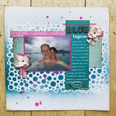 A mixed media scrapbook layout with plenty of stashbusting Mixed Media Scrapbooking, Scrapbooking Layouts, Blue Lagoon, My Scrapbook, Frame, Decor, Picture Frame, Dekoration, Decoration