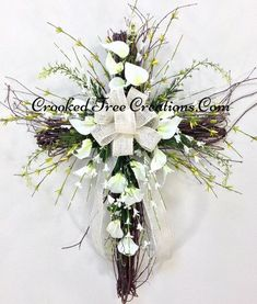 Spring Cross Cross Easter Easter Door Décor by CrookedTreeCreation Grave Flowers, Altar Flowers, Cemetery Flowers, Church Flowers, Funeral Flowers, Cemetery Vases, Cemetery Decorations, Cross Decorations, Easter Flower Arrangements