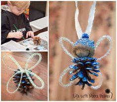 Pinecone & acorn fairy ornaments