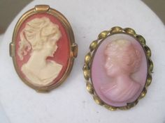 Two Vintage Cameo Brooches Pins by LunasVintageDesigns on Etsy, $20.00