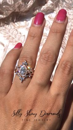 Moonstone engagement ring set Rose gold Diamond cluster ring Unique engagement ring vintage Curved wedding women Bridal Promise gift for her Description: - Vintage style Opal and diamond ring - Natural Conflict free diamonds. Dream Engagement Rings, Rose Gold Engagement Ring, Engagement Ring Settings, Vintage Engagement Rings, Diamond Wedding Bands, Wedding Rings Vintage, Vintage Rings, Wedding Unique, Wedding Ring Set